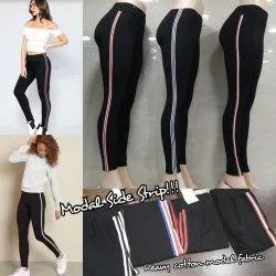 Stripes High Waist Ladies Leggings, Casual Wear, Slim Fit