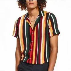 Check & stripes Satin Polyester Fabric, Multicolour