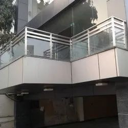 Balcony 202 Stainless Steel Glass Railing, For Home