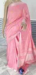 Cotton Lilen Embroidery Saree, 6.3 m (with blouse piece)