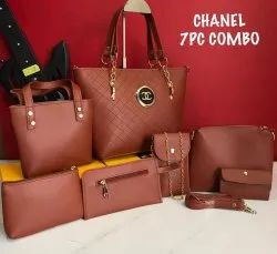 Pu Leather Plain Channel 3pc Combo Imported Bag