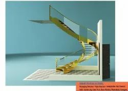 Steel Gold Mirror Finish Metal Staircase