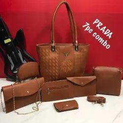 Polyurethane Plain Prada Ladies Bags, Size: H-9inch W-11inch