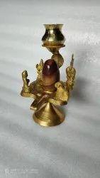 Narmada Bana Lingam In Brass Yoni Base (Stand) With Shiva Family