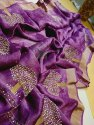 Silk Linen Hand Stone Work Sarees