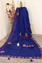 Party Wear Dupion Vichitra Silk Saree, 6 m (with blouse piece)