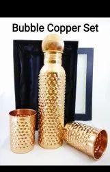DrVedic Polished Copper Bottle Bubble Design