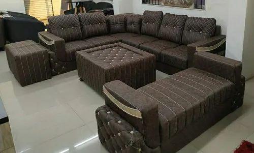 designer corner sofa set center table and puffy