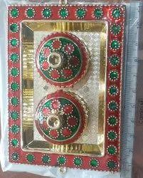 Plastic Golden Decorative Kankavati, For Pooja Haldi Kumkum