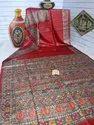 Hand Painted Madhubani Tussar Gicha Silk Sarees