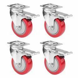 4 X 1/4 (100 X 32 ) Pu Wheel Swivel With Brake