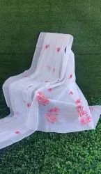 Pure Cotton Party Wear White Organdy Saree, Without Blouse, 5.5 m