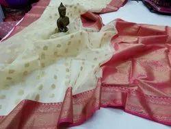 Kora Banarasi Silk Buti Weaved Sarees