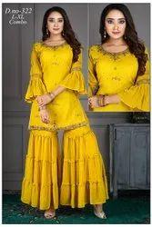 Georgette Pakistani Designer Sharara Suit, Handwash