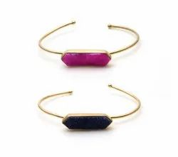 Druzy gold plated bangle