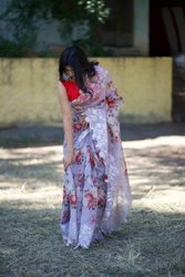 Women Orange Silk Designer Saree