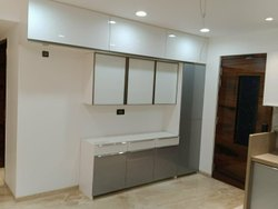 Modern Wooden Straight Modular Kitchen, Base Unit Height: 32, Base Unit Depth: 27