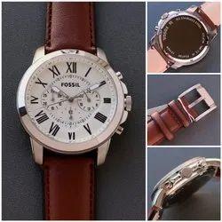 Fossil men's leather belt watch