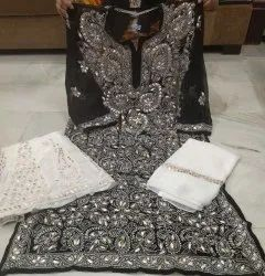 Wahid's products Chiffon Georgette lucknowi chikan work Sharara suit with dupaatta