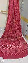 Ajrakh Hand Block Design Silk Sarees