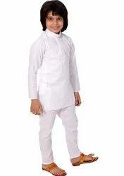 Cotton Casual Wear Boys White Kurta Pajama Set, Handwash