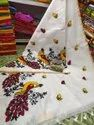 Handloom Peacock Thread Embroidery Work Sarees