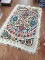Woolen White Namda Rug From Kashmir, Size: 6ftx4ft