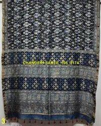 Ajrakh Printed Chanderi Silk Sarees