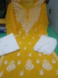 Straight Stitched Sylub Cotton Lucknowi Chikan Plazzo Suit With Shiffon Dupaatta, Machine Wash