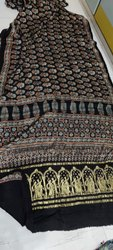 Ajrakh Hand Block Printed Modal Silk Saree With Tissue Pallu
