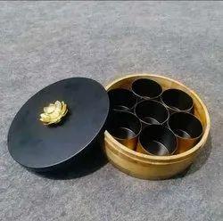 Wood Brown Metal Masala Box, For Kitchen