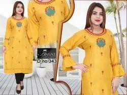 Formal Wear Regular Rayon Embroidery Kurti, Size: XL, Wash Care: Machine wash