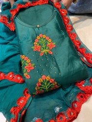 Embroidery Cotton Suit With Tabby Duptta