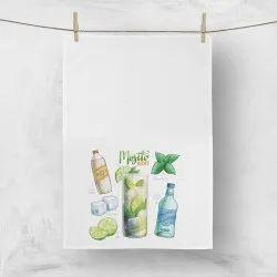Printed White Kitchen Cotton Towel, Wash Type: Machine Washable, 70 G