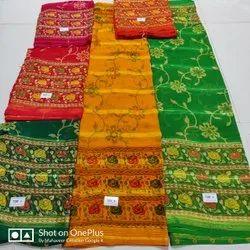 Formal Wear Printed Darbari Saree, With blouse piece, 6.3 Meter