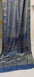Ajrakh Printed Silk Sarees With Naksi Pallu