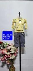 SN Yellow Kids Cotton Capri