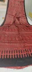 Hand Block Ajrakh Print Silk Sarees