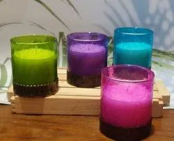 Coloured bubble glass scented candle