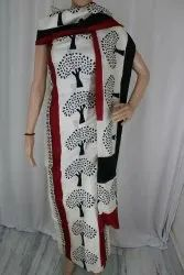 Murshidabad Silk 2 pc Block Printed Suit Materials