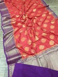 Floral Weaving Kora Banarasi Silk Sarees