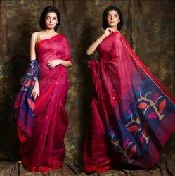 6.3 m (with blouse piece) Cotton Silk Handloom Jamdani Ball Buti Sarees