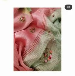 Authentic Silk Linen Floral Hand Weaved Moti Sarees