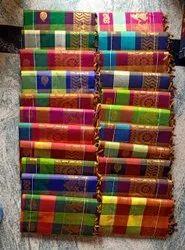 Saiprathik collections weaved butta Kalyani Cotton Zari Checks Sarees, With Blouse, 6.3 m