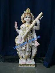 White marble standing saraswati mata moorti