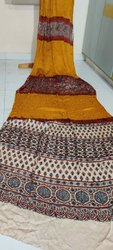 Ajrakh & Kutchi Bandhej Hand Block Silk Sarees