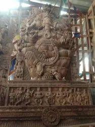 Lord ganesha wooden statue 8 1/4 feet