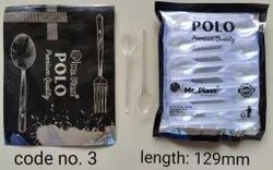 100 Pcs Natural Plastic Polo Crystal Pop Spoons, For Event and Party Supplies, Size: 129 Mm