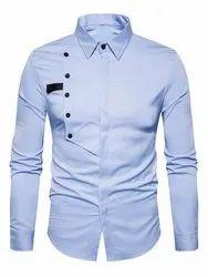 Plain Collar Neck Formal Sky-Blue Shirt
