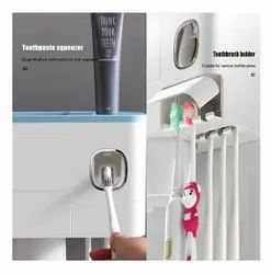 White Automatic Toothpaste Dispenser With Toothbrush Holder Organizer Set
